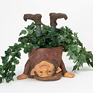 Bits and Pieces - Topsy-Turvy Elf Planter - Whimsical Gnome - Unique Outdoor Garden Décor