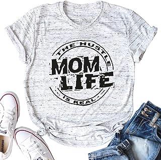 MAXIMGR Women's Letter Print Mom Life is Ruff T-Shirt Summer Causal Short Sleeve Top