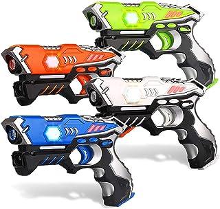 مجموعه اسلحه لیزر مادون قرمز kidpal ، اسباب بازی های برچسب Lazer برای کودکان ، مجموعه 4 مگا نبرد مادون قرمز ، سرگرمی فعالیت گروه Blasters Gun برای سن 5 6 7 8 9 10 11 12 سال پسران دختران داخل سالن در فضای باز