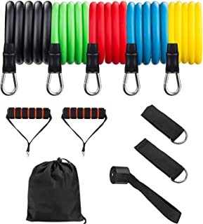 Resistance Bands Set (11pcs), Exercise Bands with Door Anchor, Handles, Carry Bag, Legs Ankle Straps for Resistance Traini...