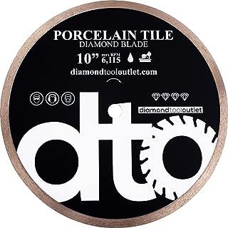 dto TWP10P 10-Inch Premium Porcelain Tile Continuous Rim Diamond Blade for Porcelain Tile, 5/8-Inch Arbor, Wet Cutting, 6115 Max. RPM, 8mm (.315