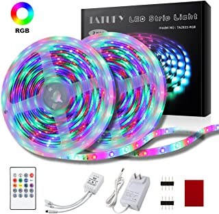 LED Strip Lights, TATUFY 32.8FT/10M LED Strip Lights, Music Sync Color Changing Flexible Tape Lights, Rope Light 600 SMD 3528 LED with 20Key IR Remote Controller for Home Lighting Kitchen Decoration