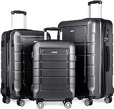 SHOWKOO Luggage Sets Expandable Suitcase Double Wheels TSA Lock (Gray)