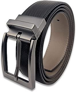 "Bleu Nero Men's Belt Reversible Genuine Leather Belt - Classic Dress Belt 1.25"" Width Rotating Buckle for Two Colors"