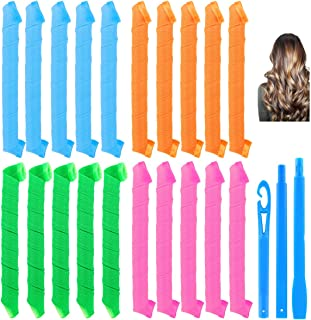 Hair Wave Formers Spiral Curls Styling Hair Roller Kit No Hurt Hair 20 Pieces Heatless Hair Rollers and 1 Styling Hook for...