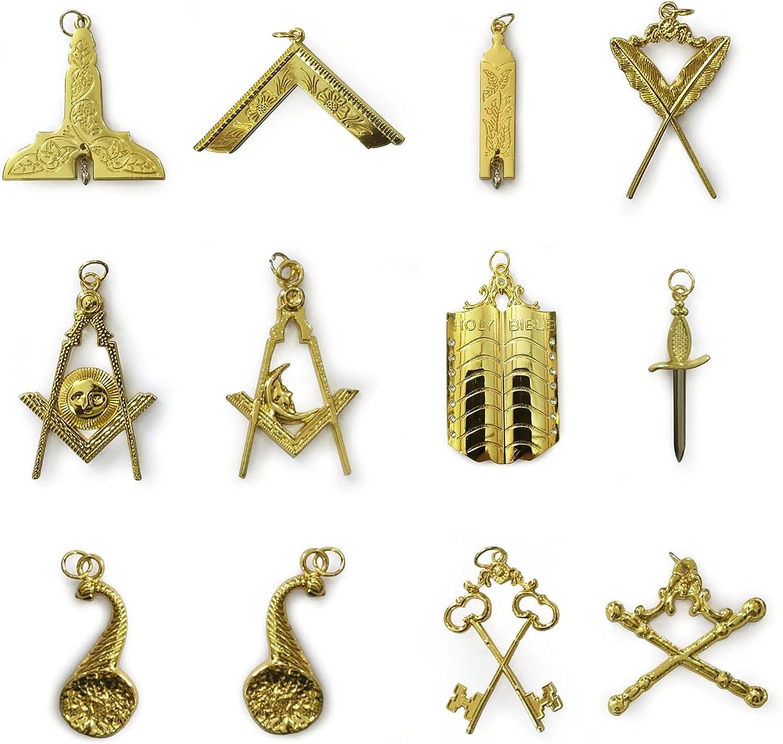 Masonic Gold Collar Jewel Set of 12