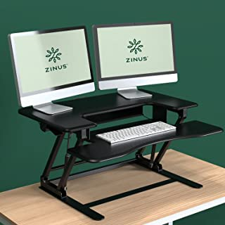 Zinus Betsy Smart Adjust Standing Double Desk / Adjustable Height Desktop Workstation, Black