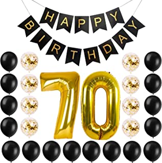 70th BIRTHDAY PARTY SUPPLIES - Balloon Set with Reusable Happy Birthday Banner | Giant 7-0 Number Balloons | Regular and Confetti Balloons and String