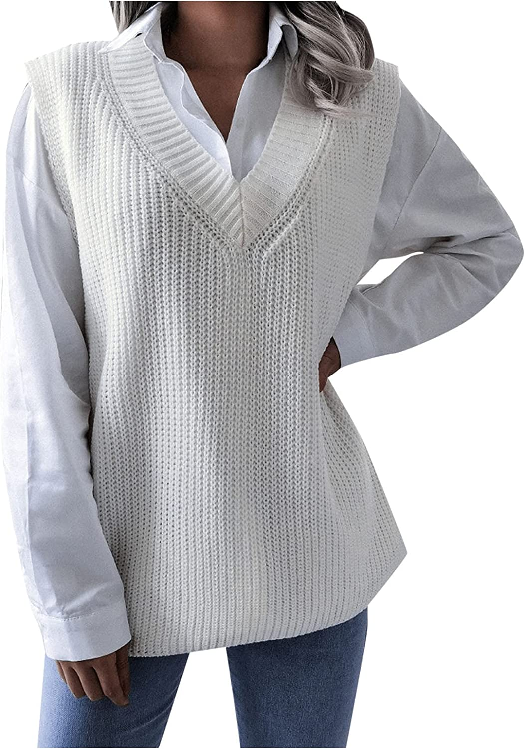 New Womens V Neck Sweater Vest Knitted Oversized Sleeveless Knitwear Casual Pullover Jumpers Tank Tops