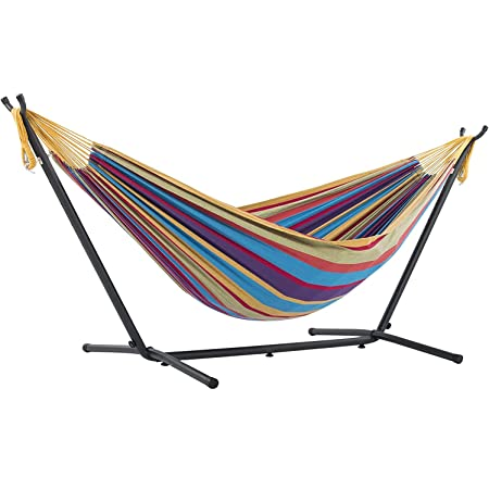 NEW Hammock Two Person Double Cotton Swing Camping Outdoor Light Blue Multicolor