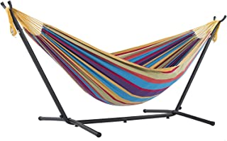 Vivere UHSDO9-20 Double Cotton Hammock with Space Saving Steel Stand, Tropical (450 lb Capacity- Premium Carry Bag Include...
