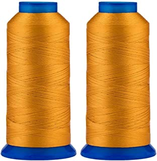 Selric [3000 Yards / 26 Colors Available] Pack of 2 UV Resistant High Strength Polyester Thread #69 T70 Size 210D/3 for Upholstery, Outdoor Market, Drapery, Beading, Purses, Leather (Jeans Yellow)