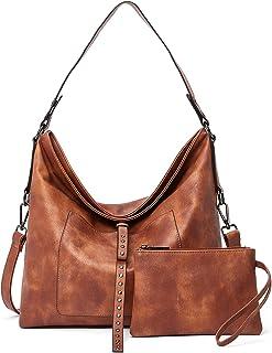 Damen Handtasche Leder Groß Schultertasche Shopper Tasche mit Einer Portmonee 2 Sets Braun
