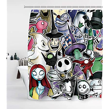 Jack Skull Halloween Shower Curtain Nightmare Before Christmas Fabric Shower Curtain Sets Bathroom Decor with Hooks Waterproof Washable 71 x 71 inches Black White