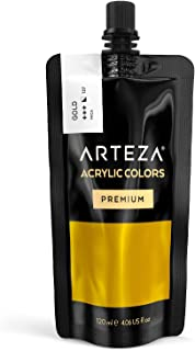 ARTEZA Acrylic Paint, Gold Color, (120 ml Pouch, Tube), Rich Pigment, Non Fading, Non Toxic, Single Color Paint for Artists, Hobby Painters & Kids