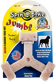 Bullibone Jumbo Spin-a-Bone- Bacon Flavor Nylon Dog Chew Toy Aggressive Chewers, Triggers Natural Instincts Improves Oral ...