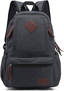 AchirStyle Lightweight Canvas Laptop Bag Shoulder Daypack Bag School Backpack for Men Women School Children Causal Handbag (Black)