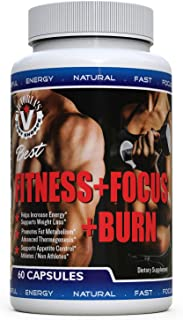 Fitness Focus & Burn Fat Burner Thermogenic Pills Men Women Yoga Athletes Celebrities Belly Fat Weight Loss Performance Curbs Appetite Energy Glycemic Diets