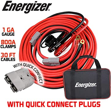 Energizer 1-Gauge 800A Permanent Installation Kit Jumper Battery Cables With Quick Connect Plug 30 Ft Booster Jump Start Enb-130 - 30' Allows You To Boost A Battery From Behind A Vehicle!: image