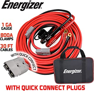 Energizer 1 Gauge 800A Permanent Installation kit Jumper Battery Cables with Quick Connect Plug 30 Ft Booster Jump Start - 30 Ft Allows You to Boost a Battery from Behind a Vehicle