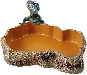 Reptile Food Water Rock Bowls - Resin Rock Worm Feeder Dish, Amphibian Feeding Bowl Terrarium Decor for Lizards, Chameleon, Leopard Gecko, Frog, Bearded Dragons, Snake, Hermit Crabs, Turtle Spider Pet