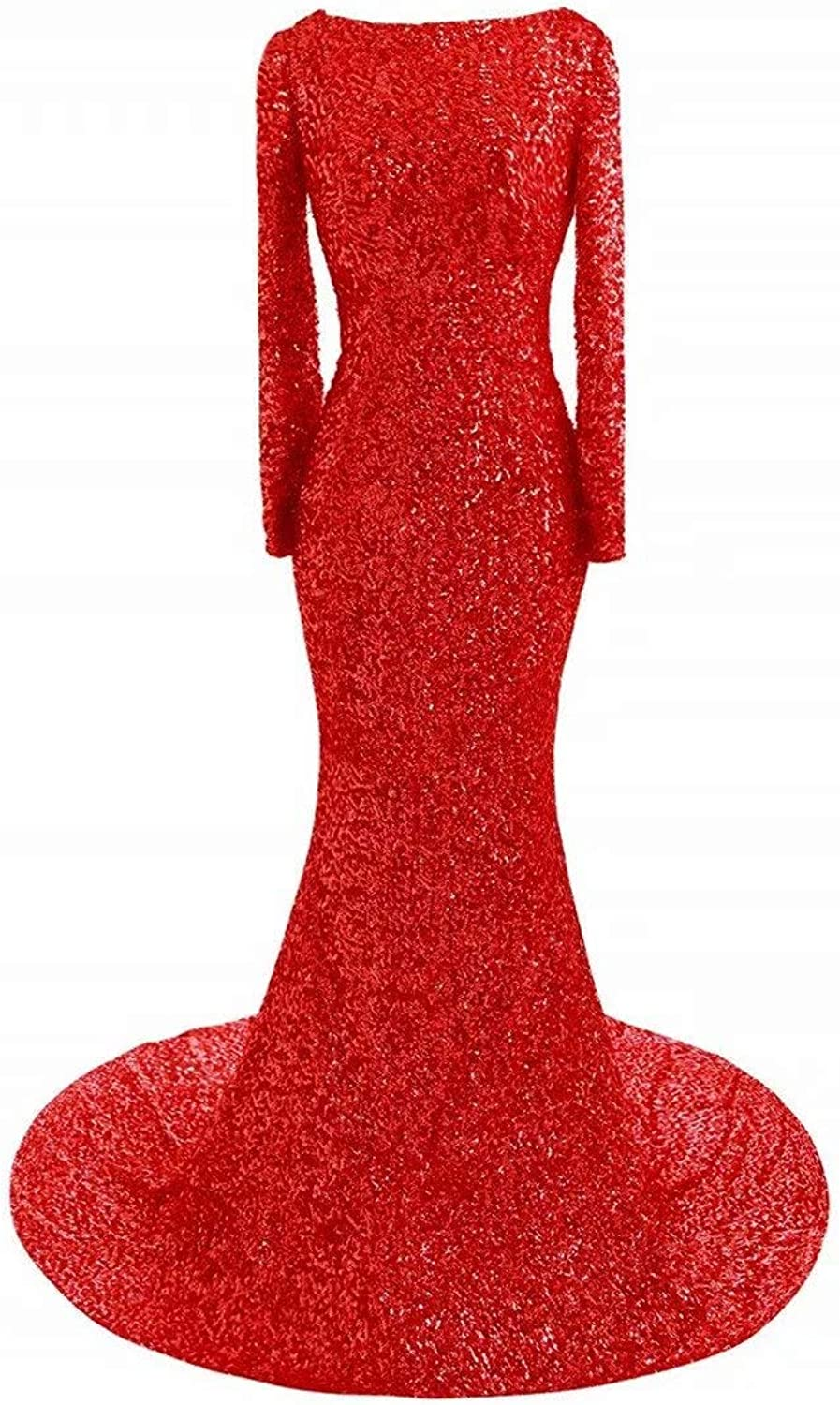 HAiliFier Sexy Sequins Evening Prom Gown Mermaid Party Dress Train