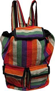 Himalayan Handmade Woven Nepal Hippie Boho Cotton Red & Orange Stripe Sling Backpack Large