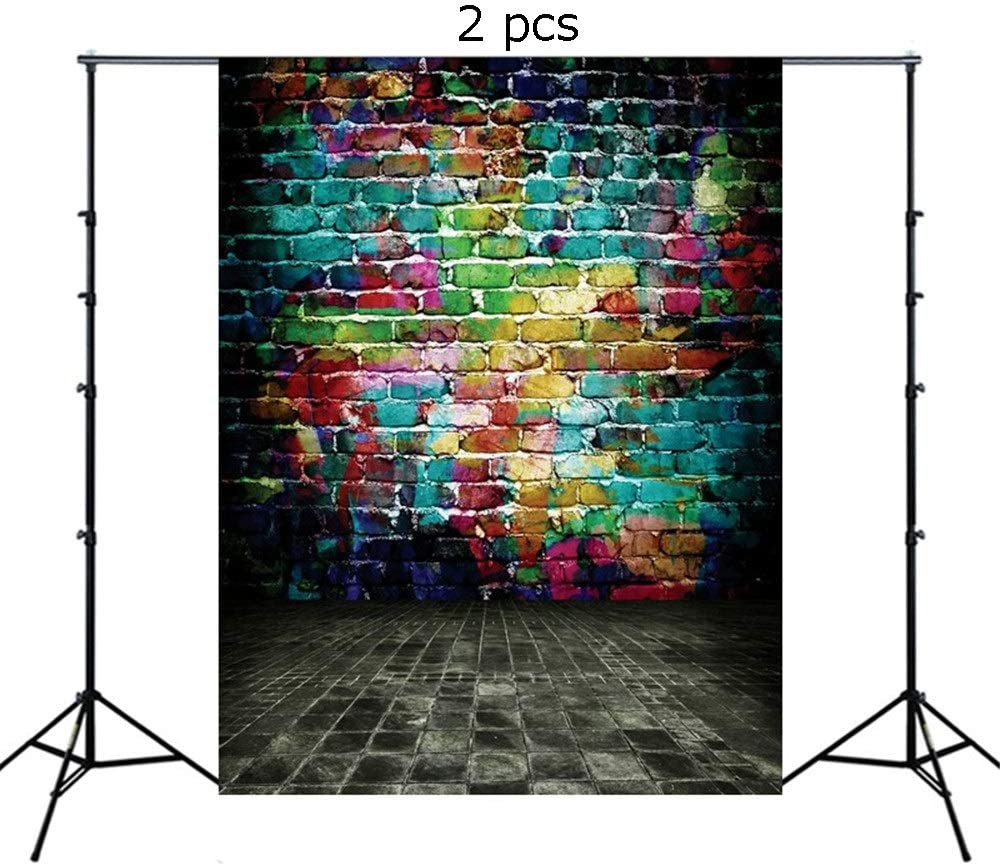 Wecnday-Home Decoration 2 PCS Brick Wall Wood Floor Pictorial Cloth Photography Colorful Backdrop for Studio Prop Photo Background 2.1x1.5m Baby Portrait Photobooth Family Birthday Party