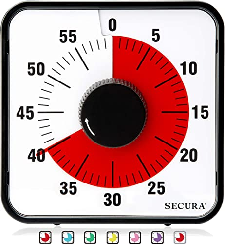 Secura Kitchen Timer 60-Minute Mechanical Visual Timers for Cooking, 7.5-Inch Oversize Countdown Clock for Teaching, ...