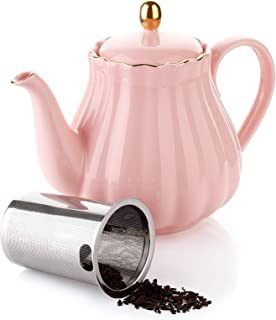 Amazingware Royal Teapot, Porcelain Tea Pot with Stainless Steel Infuser, with a Filter for Loose Tea, Pumpkin Fluted Shape - 28 oz, Pink