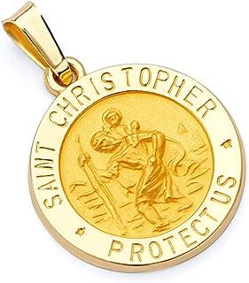 14k Yellow Gold Religious St. Christopher Pendant