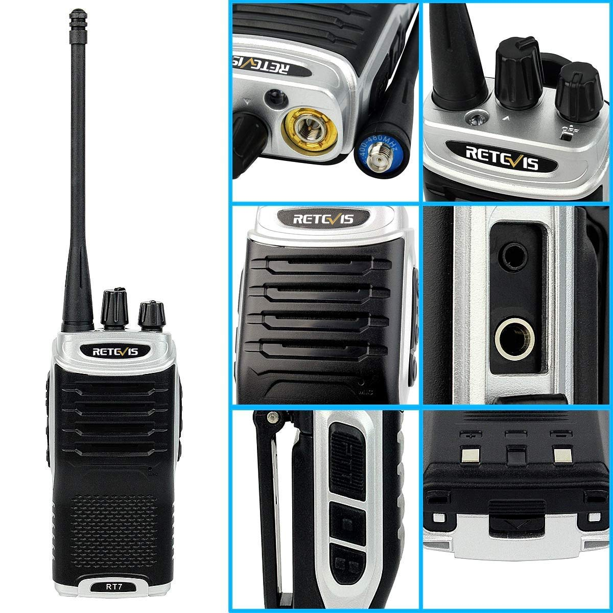 Retevis RT7 Two Way Radios VOX 16 CH 2 Way Radio Rechargeable FM Radio Walkie Talkies with Earpiece Silver Black Border,10 Pack