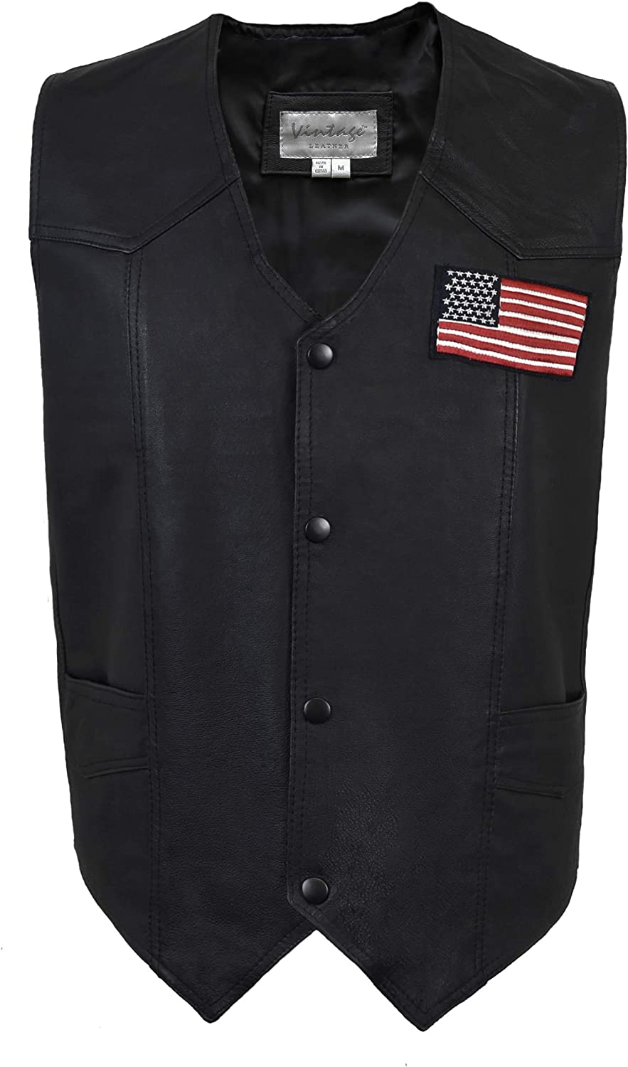 Victory Outfitters Men's American Flag Decal Genuine Leather Vest