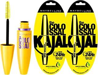 Maybelline New York Volume Express Colossal Mascara, Washable, Glam Black, 10.7g and Maybelline New York Colossal Kajal, B...