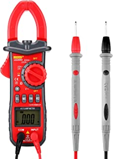 BDMETER Digital Clamp Multimeter, Auto range Clamp Meter Electronic AC DC Voltage AC Current Resistance Diode Tong Tester and Continuity Test Meter with Backlight LCD Display Flashlight