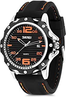 Mens Quartz Watch, Analog Watches Fashion Sports Dress Waterproof Business Casual Wrist Watch with Silicone Rubber Band 30M 3ATM Water Resistant