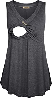 Larenba Women's V Neck Maternity Shirts Pleated Front Double Layered Nursing Tank Top for Breastfeeding
