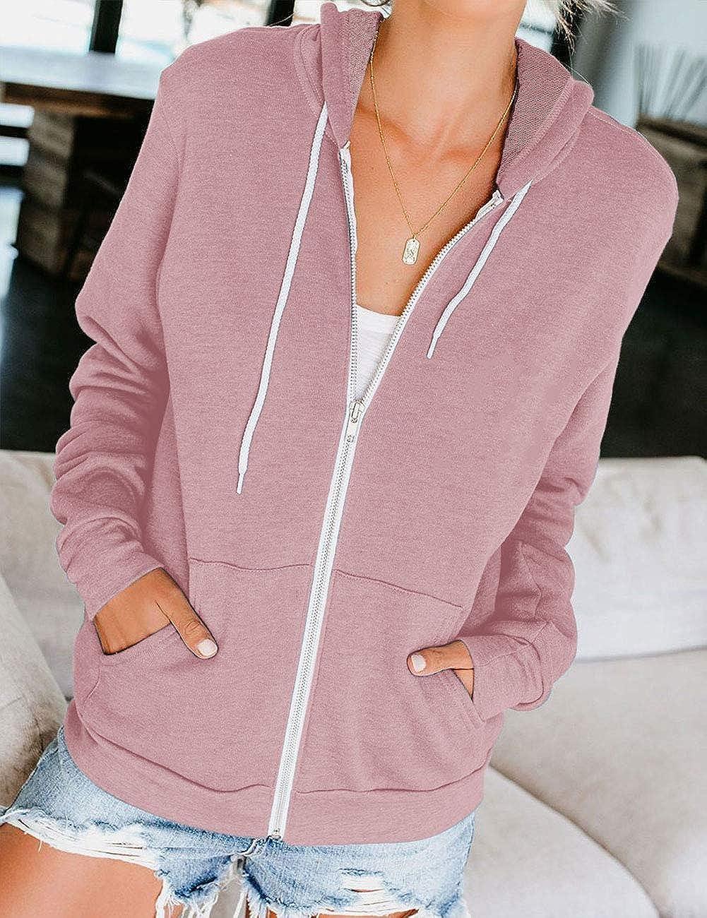 MEROKEETY Women's Long Sleeve Zip Up Hoodie Drawstring Jacket Casual Sweatshirt