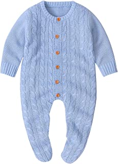Baby Knit Romper Bottom Up Cable Sweater Toddler Baby Bodysuit Footies