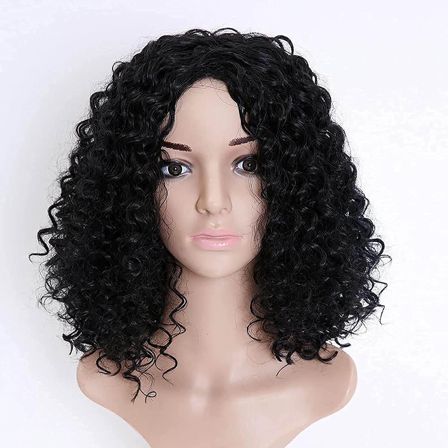Cosplay Curly Afro Wig 5 ☆ very popular with Fashion Bangs Blac Shoulder Length