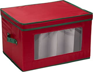 Household Essentials 540RED Holiday China Storage Chest with Lid and Handles, Cocktail Glasses and Red Canvas with Green Trim, Red & Green