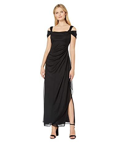Alex Evenings Long Mesh Cold Shoulder Dress (Black) Women
