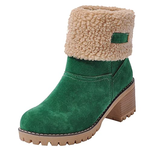 561444c43 Vuticly Womens Winter Snow Boots Round Toe Suede Chunky mid Heel Faux Fur  Warm Ankle Booties