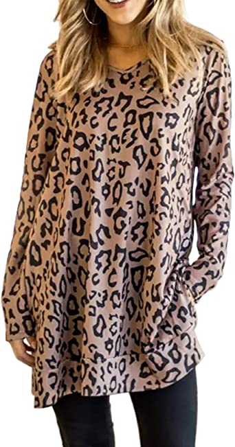 Womens Leopard Long Sleeve T Shirt Tunic Tops Casual V Neck Blouse Tee Shirts XL