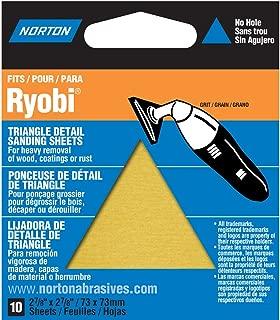 Norton 07660749282 Adhesive Backed Triangle Sanding Sheet for Ryobi Sander, P150 Grit, Fine Grade (Pack of 10)