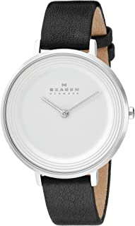 Skagen Women's Skw2261 Ditte Black Leather Watch, Analog Display