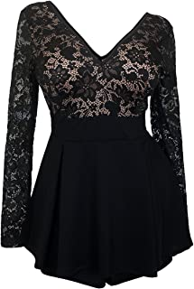 eVogues Plus Size Lace Overlay Romper Dress