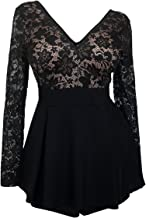 eVogues Plus Size Lace Overlay Romper Dress Made in USA