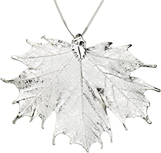 Silver-Plated Sugar Maple Leaf Pendant Sterling Silver Chain Necklace