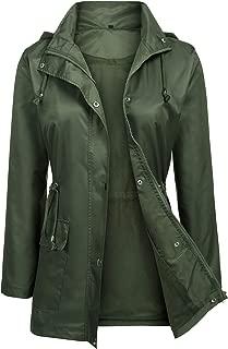 URRU Women's Waterproof Outdoor Raincoat Lightweight Rain Jacket Active Hooded Windbreaker Trench Coat S-XXL